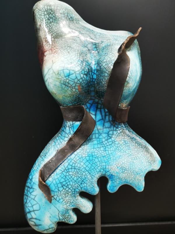 Photo buste raku turquoise